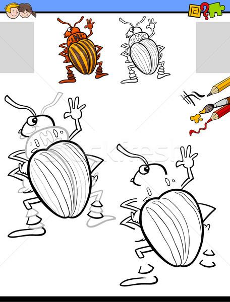 Stockfoto: Tekening · activiteit · aardappel · kever · cartoon · illustratie