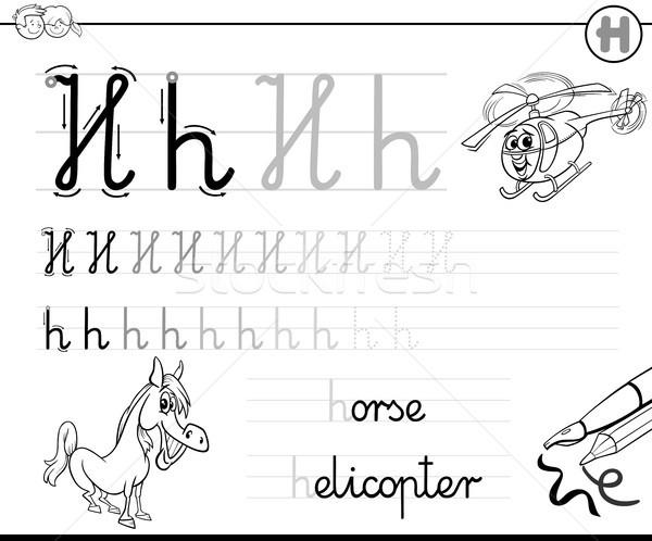 Apprendre écrire lettre h classeur enfants blanc noir Photo stock © izakowski