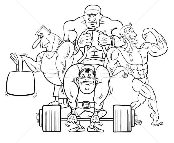 athletes at the gym cartoon color book Stock photo © izakowski