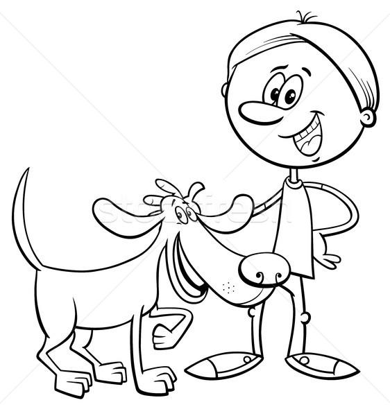 Erkek Komik Köpek Karikatür Boyama Kitabı Siyah