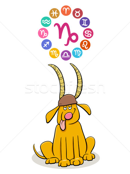 Capricorn Zodiac sign with cartoon dog Stock photo © izakowski