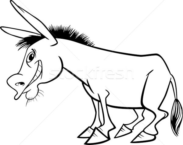 Karikatür Eşek Boyama Kitabı örnek Komik Vektör