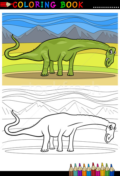 cartoon diplodocus dinosaur coloring page Stock photo © izakowski