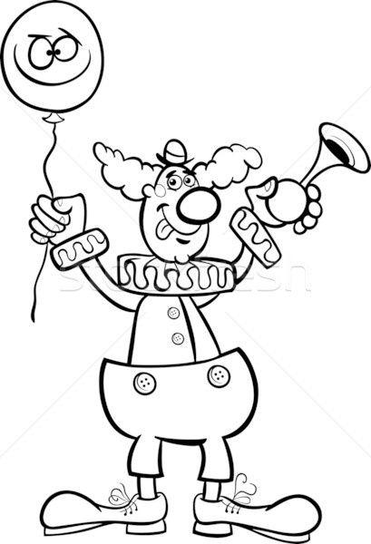 clown cartoon illustration for coloring Stock photo © izakowski