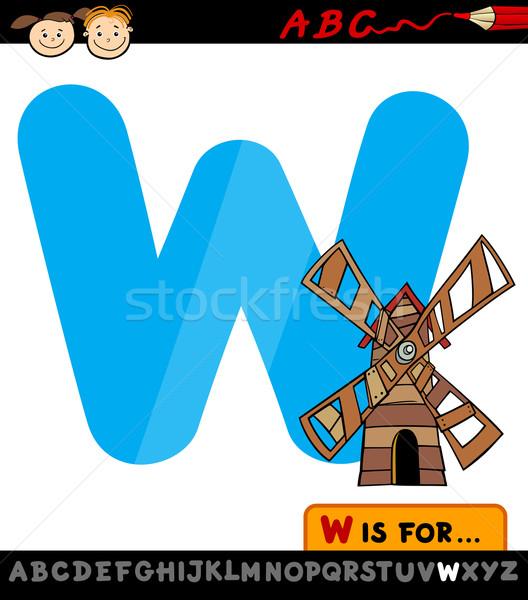 Stock fotó: W · betű · szélmalom · rajz · illusztráció · nagybetű · ábécé