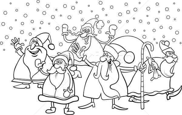 Cartoon pagina zwart wit illustratie kerstman Stockfoto © izakowski