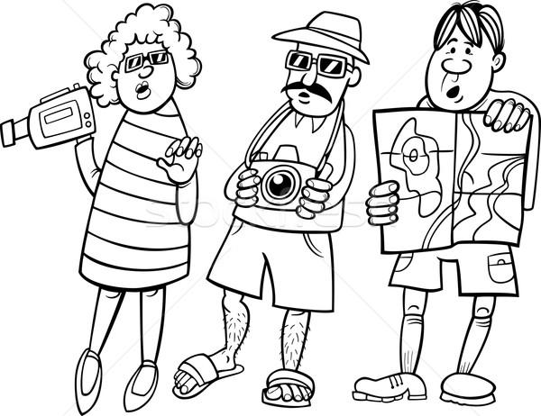 tourist group cartoon illustration Stock photo © izakowski