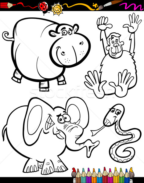 Cartoon Animals for Coloring Book Stock photo © izakowski