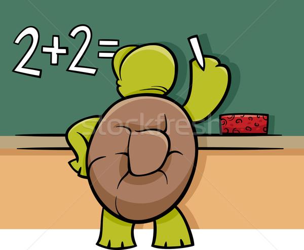 Teknős iskolatábla rajz illusztráció vicces állat Stock fotó © izakowski