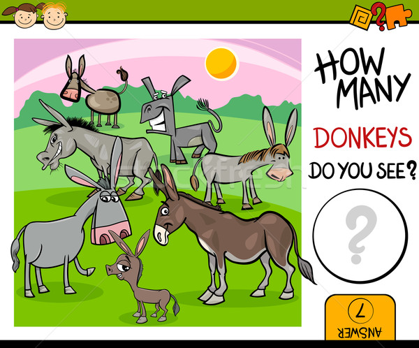 counting task with donkeys cartoon Stock photo © izakowski