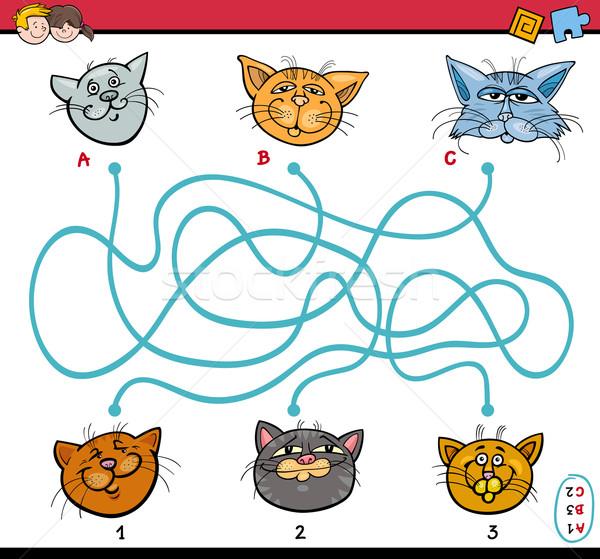 Labirinto quebra-cabeça tarefa crianças desenho animado ilustração Foto stock © izakowski