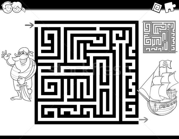 Labirynt labirynt strona czarno białe cartoon ilustracja Zdjęcia stock © izakowski