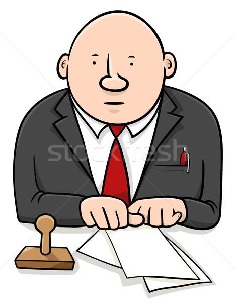 Officieel cartoon illustratie karakter documenten Stockfoto © izakowski