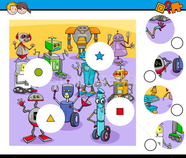 Partido piezas rompecabezas robot Cartoon Foto stock © izakowski