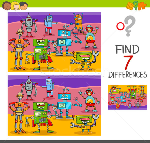 find differences game with robot characters Stock photo © izakowski