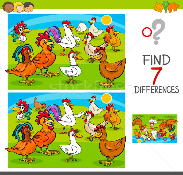 find differences game with chickens animal characters Stock photo © izakowski
