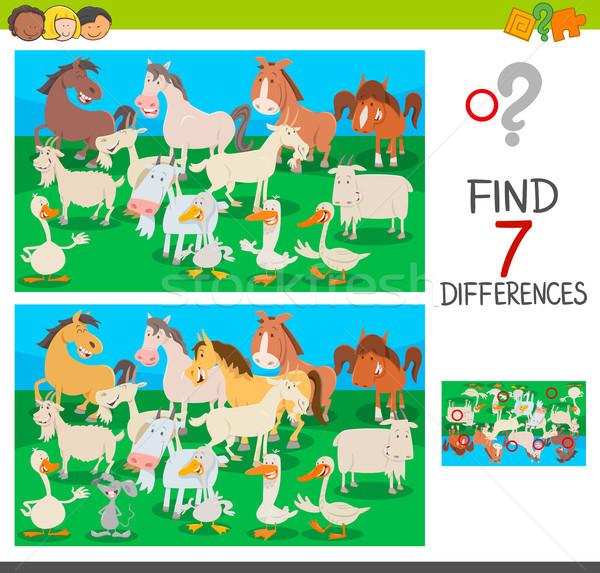 find differences game with farm animal characters Stock photo © izakowski