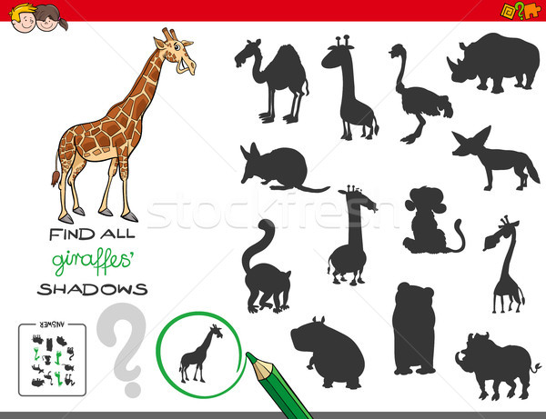 Sombras jogo girafa desenho animado ilustração Foto stock © izakowski