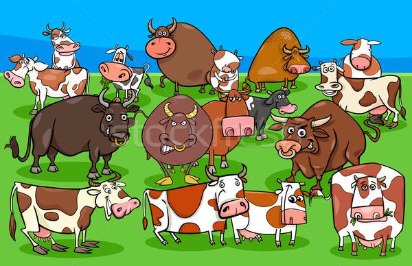Stock photo: cows and bulls farm animal characters group