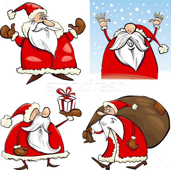 Cartoon Christmas Santa Clauses Set Stock photo © izakowski