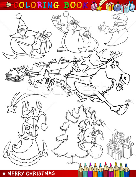 Stock photo: Cartoon Christmas Themes for Coloring