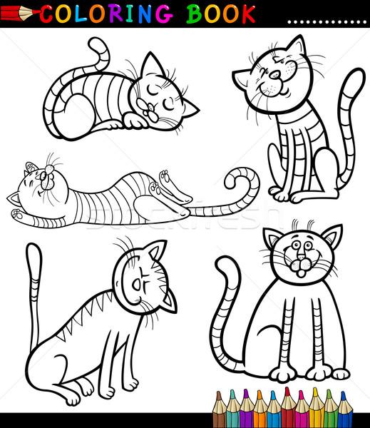 Karikatur Kediler Kedi Yavrulari Boyama Kitabi Sayfa