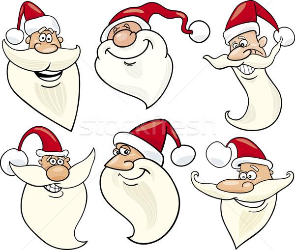 cheerful santa claus cartoon faces icons set Stock photo © izakowski