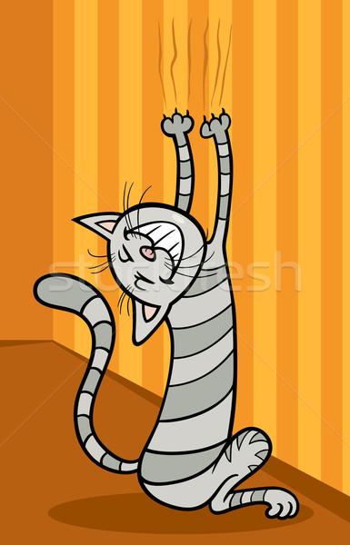 Pisică perete desen animat ilustrare amuzant fericit Imagine de stoc © izakowski