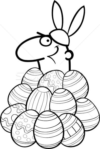 man as easter bunny cartoon for coloring Stock photo © izakowski