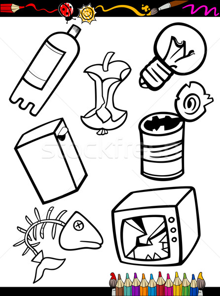 Karikatür çöp Nesneler Sayfa Boyama Kitabı örnek