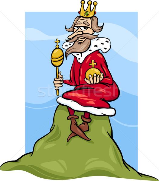 Koning heuvel gezegde cartoon humor illustratie Stockfoto © izakowski