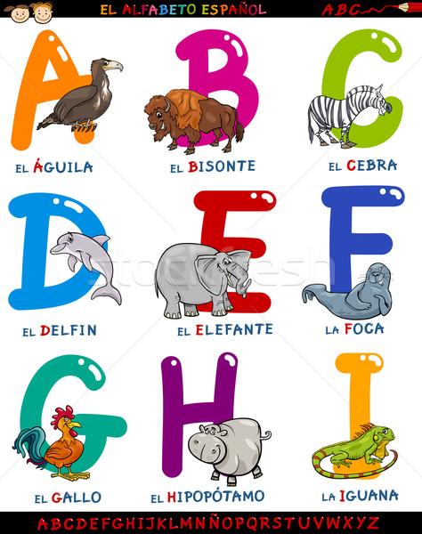 cartoon spanish alphabet with animals Stock photo © izakowski