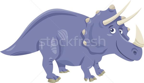 triceratops dinosaur cartoon illustration Stock photo © izakowski