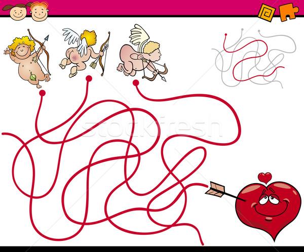 Foto stock: Labirinto · desenho · animado · jogo · ilustração · educação