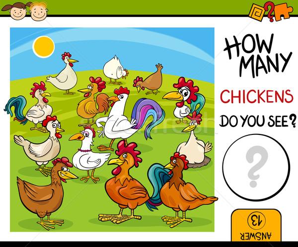 counting task with chickens cartoon Stock photo © izakowski