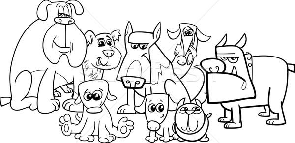 dogs group coloring book Stock photo © izakowski
