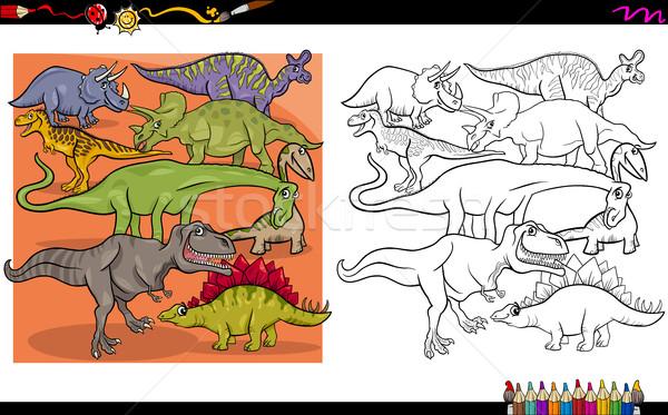 dino characters coloring book Stock photo © izakowski