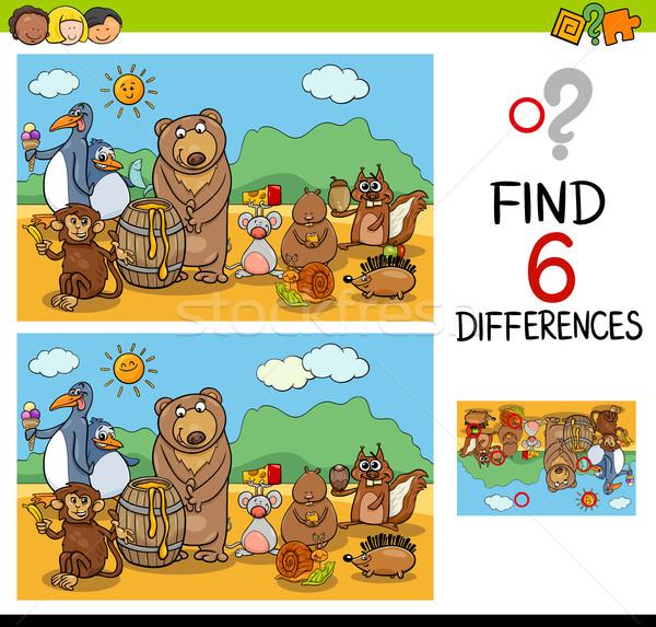Jogo diferenças animais desenho animado ilustração Foto stock © izakowski