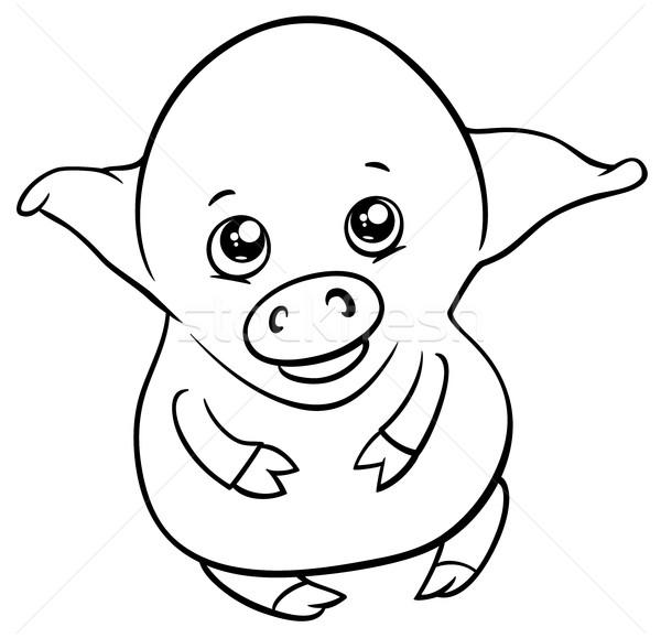可爱 小猪 黑白 漫画 插图 商业照片 izakowski