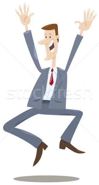 Feliz comerciante Cartoon ilustración corredor hombre Foto stock © izakowski