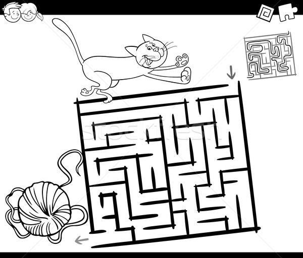 maze with cat and wool coloring page Stock photo © izakowski