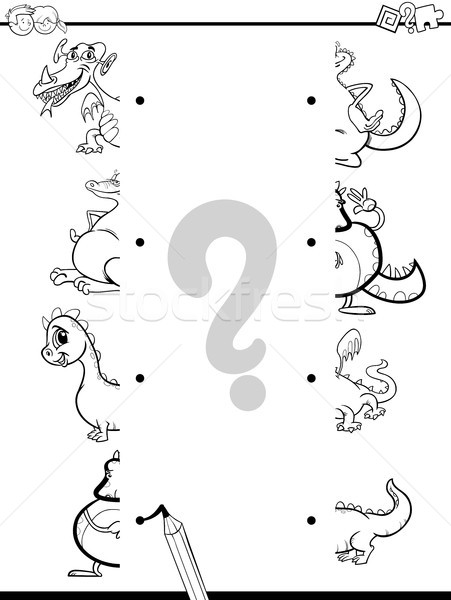 match dragons halves coloring page Stock photo © izakowski