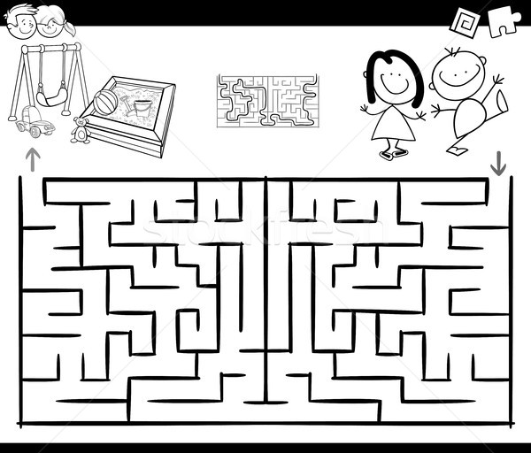 Labirinto atividade jogo crianças recreio preto e branco Foto stock © izakowski
