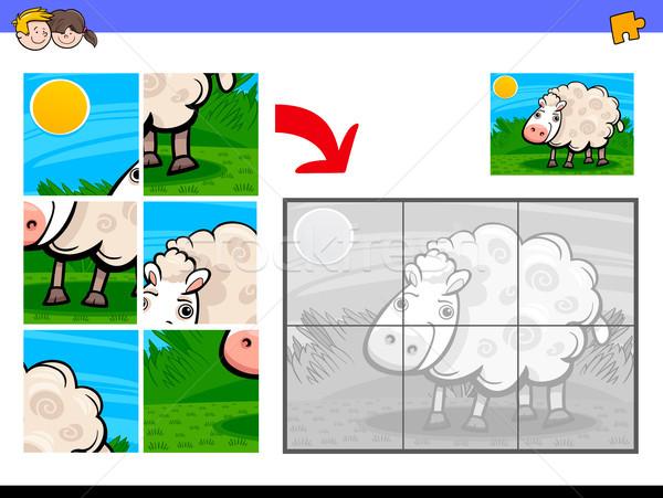 jigsaw puzzles with sheep farm animal Stock photo © izakowski