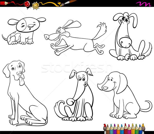 comic dog characters coloring book Stock photo © izakowski