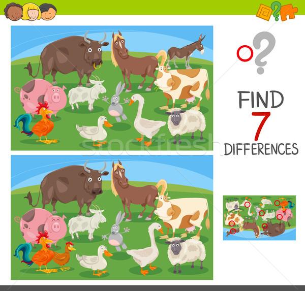 находить различия игры сельскохозяйственных животных Cartoon иллюстрация Сток-фото © izakowski