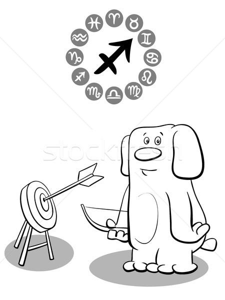 cartoon dog as Sagittarius Zodiac sign Stock photo © izakowski