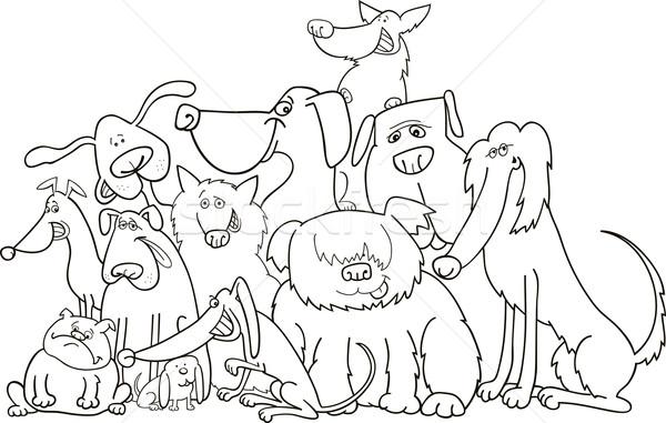 группа собаки иллюстрация собака черный животного Сток-фото © izakowski