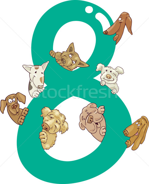 Szám nyolc kutyák rajz illusztráció gyerekek Stock fotó © izakowski
