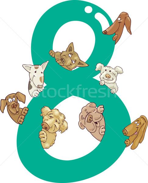 number eight and 8 dogs Stock photo © izakowski